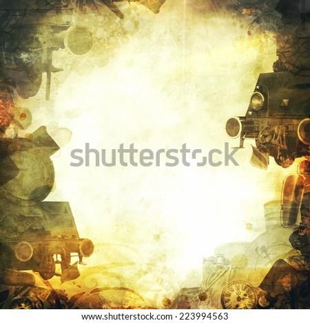 steam trains square sepia background frame - stock photo