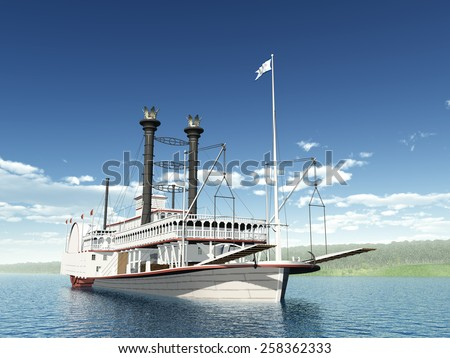 Steamboat of the Mississippi Computer generated 3D illustration - stock photo