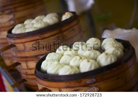 steamed baozi breakfast in China - stock photo