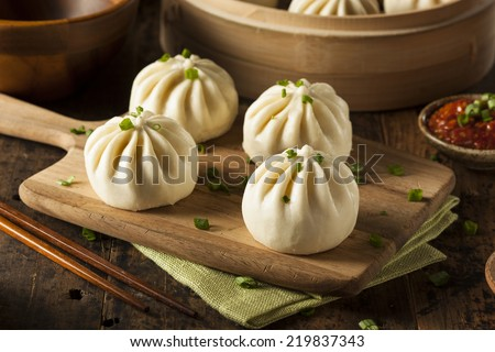 Steamed BBQ Pork Asian Buns Ready to Eat - stock photo