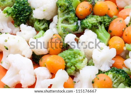 steamed broccoli,carrot and cauliflower - stock photo