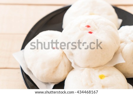 steamed dumpling or chinese bun - stock photo