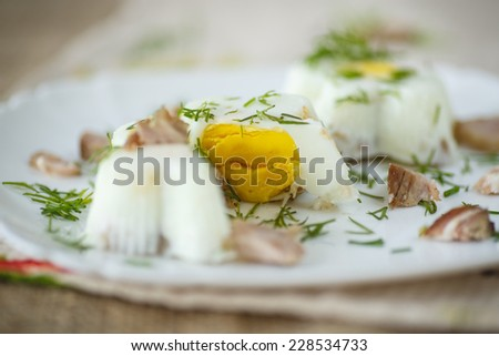 steamed egg with bacon and herbs in tins - stock photo