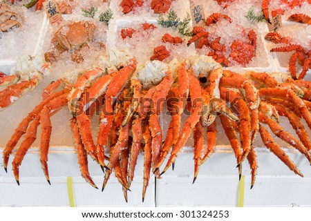 Steamed giant crab legs in crab market in Hokkaido, Japan. - stock photo