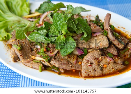 steamed liver - thai food - stock photo