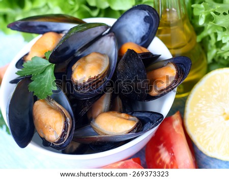 Steamed Mussels, Moules Marinieres - stock photo