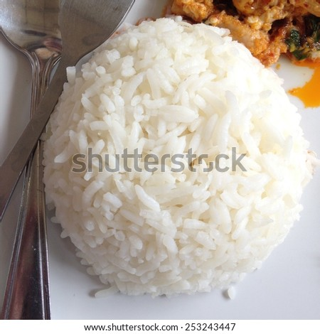 steamed rice,Thai food - stock photo