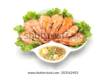 steamed shrimp - stock photo