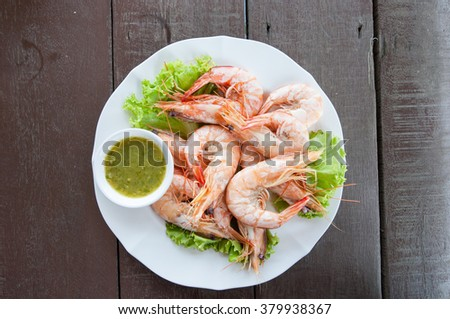 steamed shrimp with seafood  sauce - stock photo
