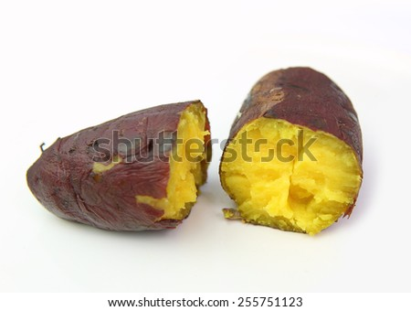 steamed sweet potato or cooked yams on white background - stock photo
