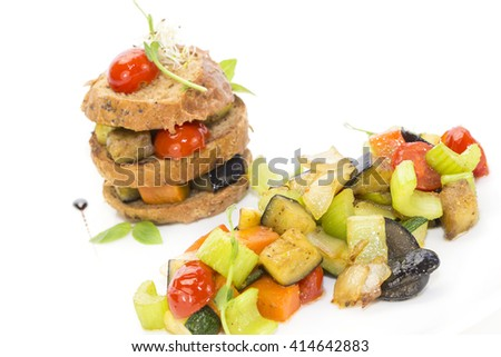 steamed vegetables and rye bread - stock photo