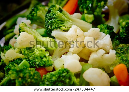Steamed vegetables close up - stock photo