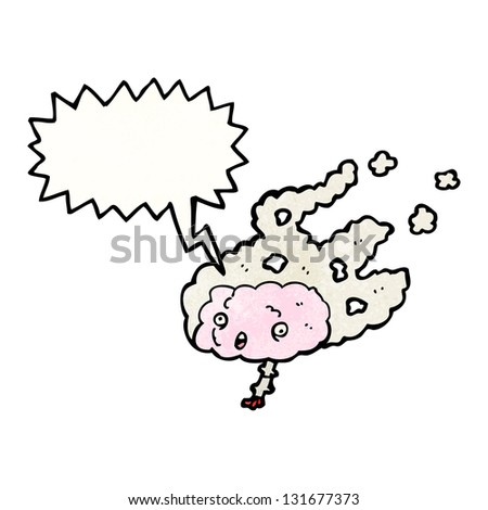 steaming brain with speech bubble - stock photo