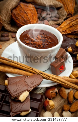 Steaming cup of chocolate - stock photo