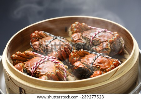 steaming shanghai hairy crabs, chinese cuisine - stock photo