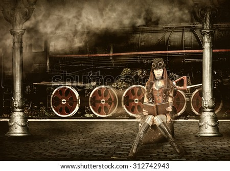 Steampunk and retro-futurism style. Woman traveler sitting on suitcase on platform of Railway Station. Near old train and clouds of smoke - stock photo