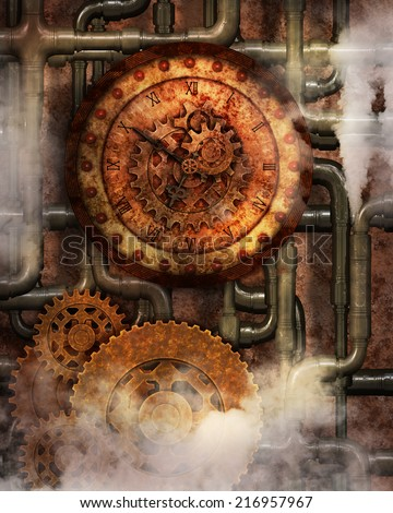 Steampunk background with a clock, pipes, steam and gears. - stock photo