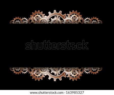 Steampunk gears frame - stock photo