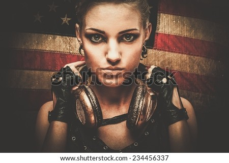 Steampunk girl against American flag - stock photo