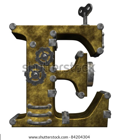 steampunk letter e on white background - 3d illustration - stock photo