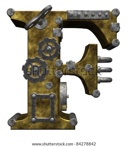 steampunk letter f on white background - 3d illustration - stock photo