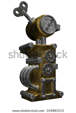steampunk letter i on white background - 3d illustration - stock photo