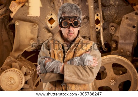 Steampunk man wearing glasses. Post-apocalypse fantasy - stock photo