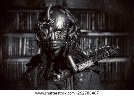Steampunk man wearing mask with various mechanical devices.  Fantasy. Black-and-white photo. - stock photo