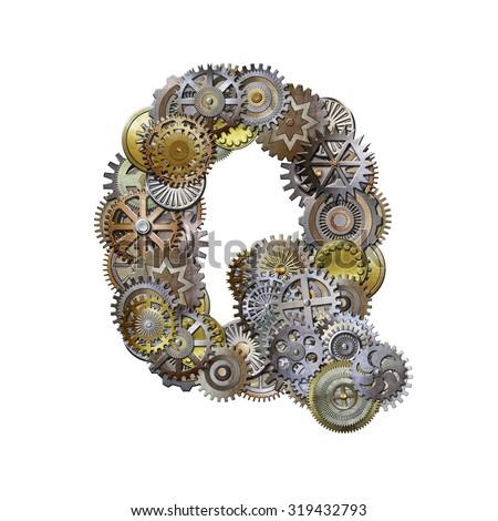 steampunk metallic gears font, letter q - stock photo