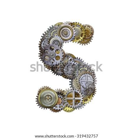 steampunk metallic gears font, letter s - stock photo