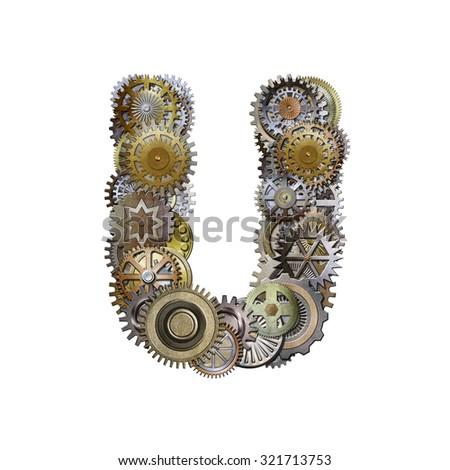 steampunk metallic gears font, letter u - stock photo