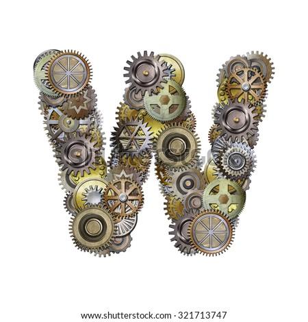 steampunk metallic gears font, letter w - stock photo
