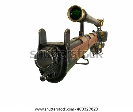 Steampunk rifle parts concept 3D illustration - stock photo