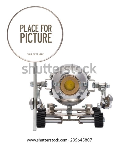 Steampunk robot holding empty metal sign for your text or picture. Cyberpunk style. Chrome and bronze parts. - stock photo
