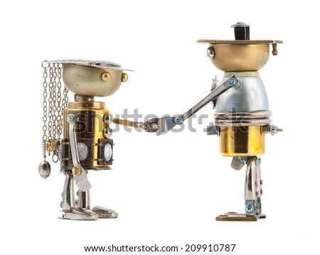 Steampunk robots handshaking. Cyberpunk style. Chrome and bronze parts. Isolated on white. - stock photo