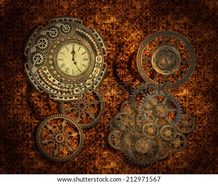 Steampunk style background with gears and clocks. - stock photo