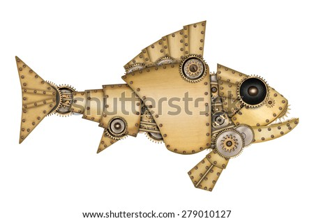 Steampunk style. Industrial mechanical fish isolated on white background. Photo compilation. - stock photo