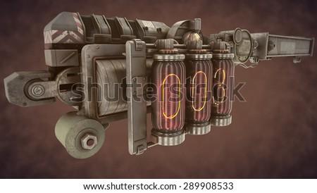 steampunk  time mechanism on brown smoke - stock photo