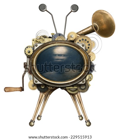 Steampunk TV, isolated. - stock photo