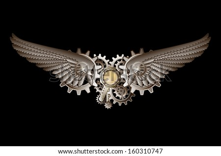 Steampunk vings vector background - stock photo