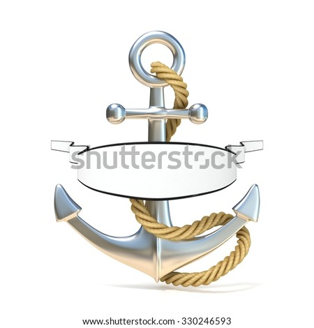 Steel anchor with rope and blank ribbon. 3D render illustration.isolated on white background - stock photo