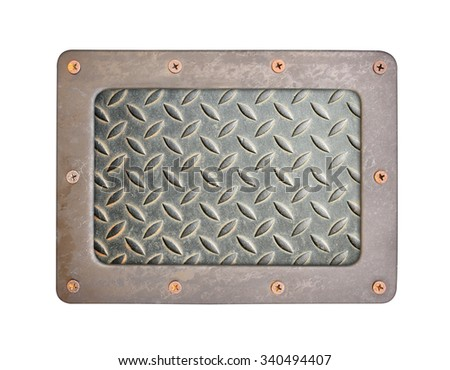 steel background plate with frame and screws - stock photo