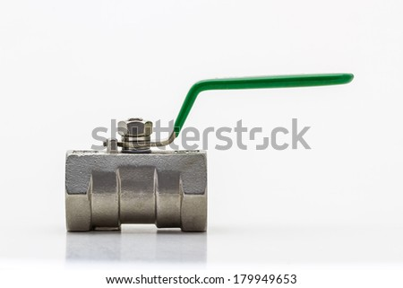 Steel ball valve on white (with clipping paths) isolate on white background. - stock photo