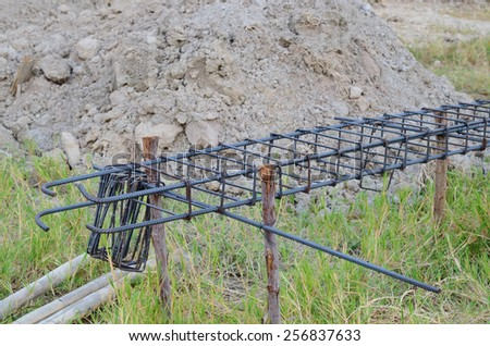 Steel bar and stirrup steel component in construction site - stock photo