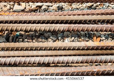 steel bar concrete reinforcement - stock photo