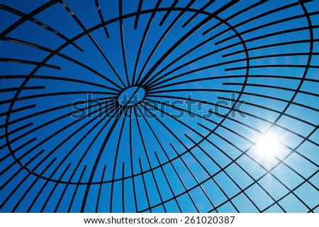 Steel beams with solar flare. Fragment modern construction. - stock photo