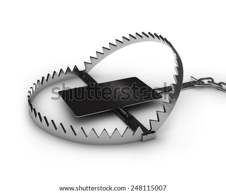 Steel bear trap, isolated on white background - stock photo