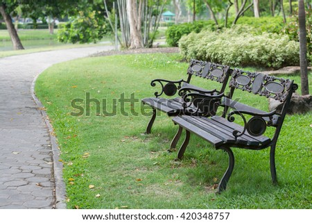 steel bench in the park   - stock photo