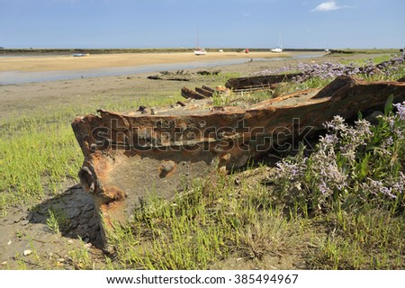 Steel boat hull wreck, wild flowers and yachts at Wells Next the Sea harbour, North Norfolk, UK. - stock photo