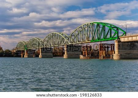 steel bridge across river Sava, Belgrade Serbia - stock photo